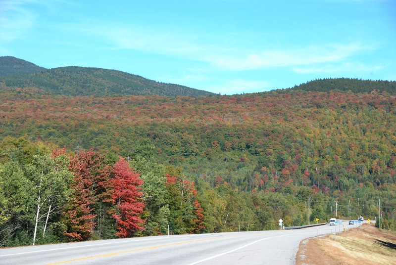 Entering the White Mountains in New Hampshire.