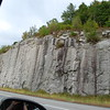 Granite walls on the road.