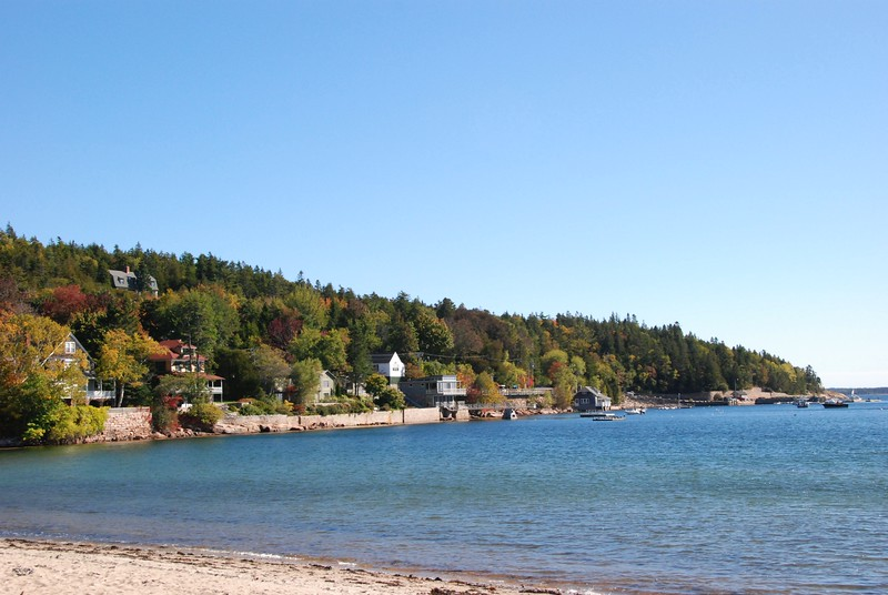 Seal Harbor, which is a village in Mt. Desert. This is one of the few sand beaches in the area.