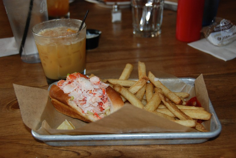Lunch: Lobstah roll, fresh french fries and a drink called The Painkiller from the rum bar. YUM!!!