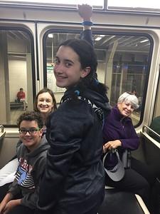 Brendan, Cristen, Grace, & MaryAnne on the MBTA Subway