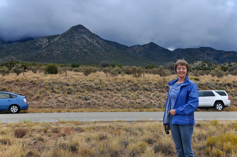 Jacki Standing Beside NM Rte. 14, AKA the Turquoise Trail, South of Santa Fe, NM