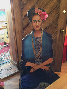 Frida joined us for Thanksgiving (Jean sat on her lap).   Mixed media art chairs surrounded the table.