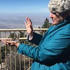 MaryAnne Releasing Brown-capped Rosy-Finch @ Sandia Crest House