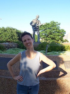 End of Day 1 in Lubbock, TX: Our hotel was near the statue of Buddy Holly and the Lubbock Walk of Fame.