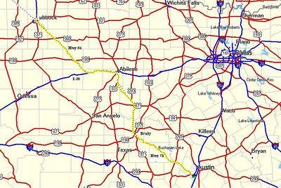 Day 1: 393 miles. Austin, through Llano, Brady, and Abilene to Lubbock.