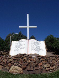 Giant Bible displaying the 23rd Psalm.