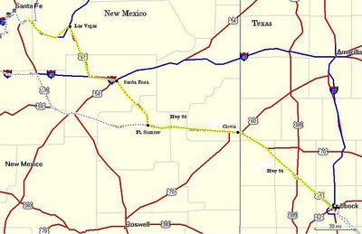 Day 2: 306 miles. Lubbock, through Clovis, Fort Sumner, Santa Rosa and Las Vegas to Glorieta.