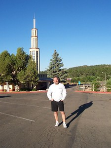 Chris in front of the bell tower.