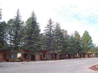 The lodge is on a hill in the older part of Ruidoso, on the edge of a golf community neighborhood.