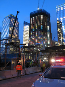 New construction at the World Trade Center as seen at twilight.  They are also building a memorial park on the grounds to open on 9-11 in 2011.