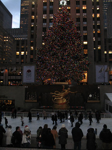 The Ice Rink, statue of Prometheus, and Christmas Tree at Rockefeller Center.
