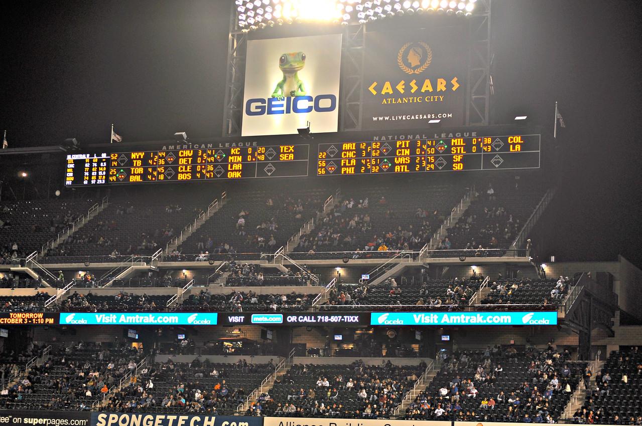 Lots of empty seats.  Mets not doing well.