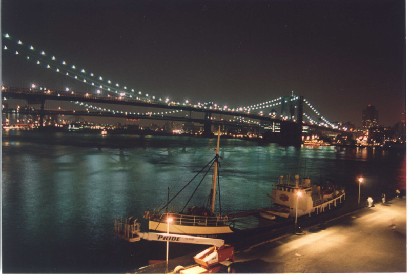 Taken from South Street Seaport in Manhatten I just held the shutter open for a while and this was the result ;)