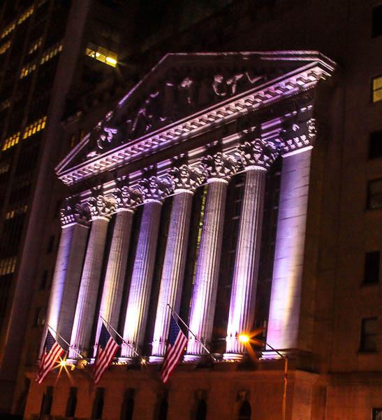 NYSE @ night.