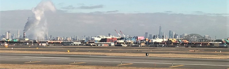 The NYC skyline in the distance as we left Newark Airport.