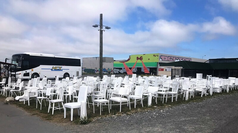 "A memorial of ""Empty Chairs"" to the 185 people who were killed in the 2011 earthquake.  Each chair is different and says something about the person is symbolizes."