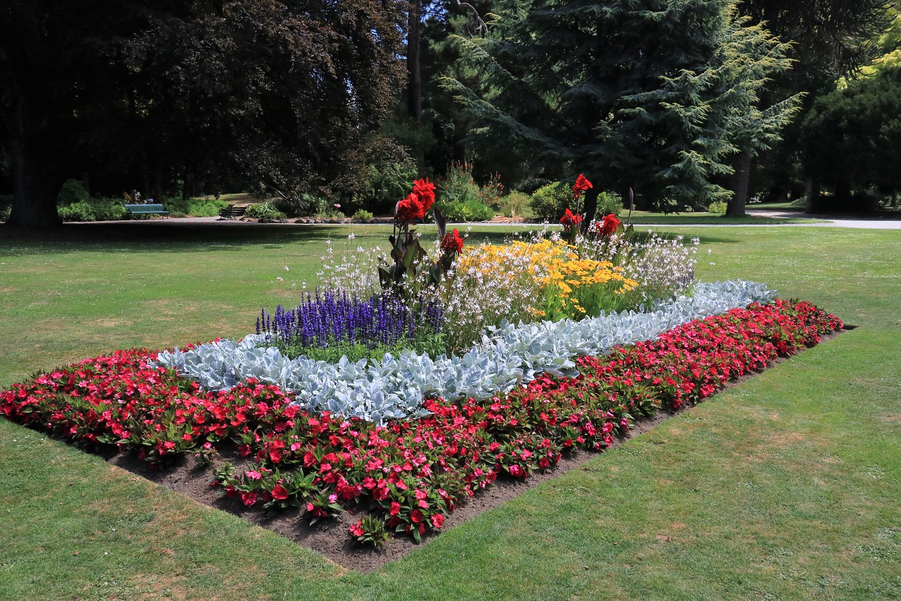 Beautiful flower beds throughout the gardens.