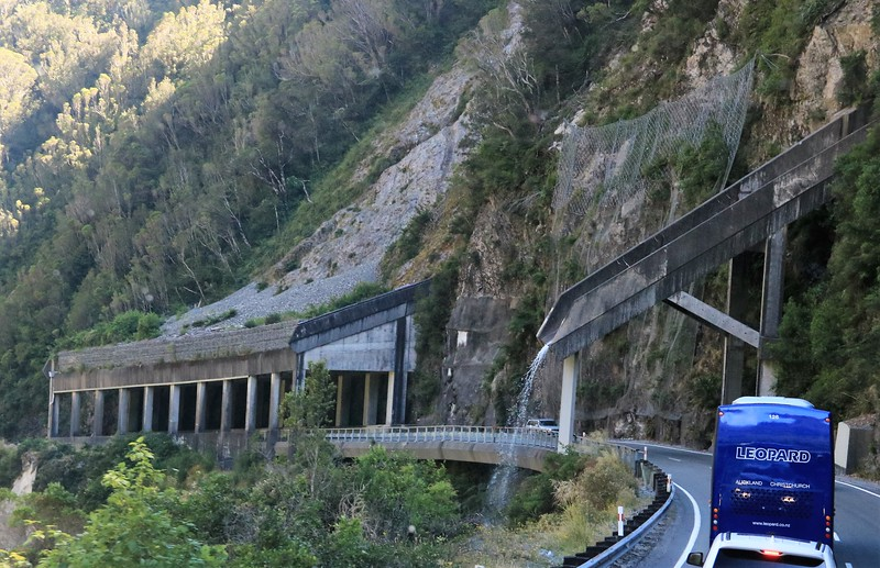 Once in our bus we passed through some tunnels designed to protect the road from avalanches and a diversion of a small stream OVER the road.