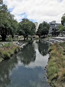 The Avon River as seen from the Bridge of Remembrance as it meanders through the city.