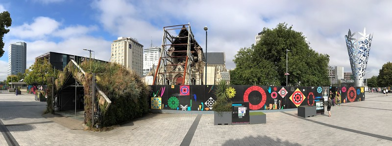 A panorama from Cathedral Square shows the remains of the front of the cathedral where its tall spire collapsed.  It is closed and it was only recently decided to restore it rather than tear it down and replace it with a new design.