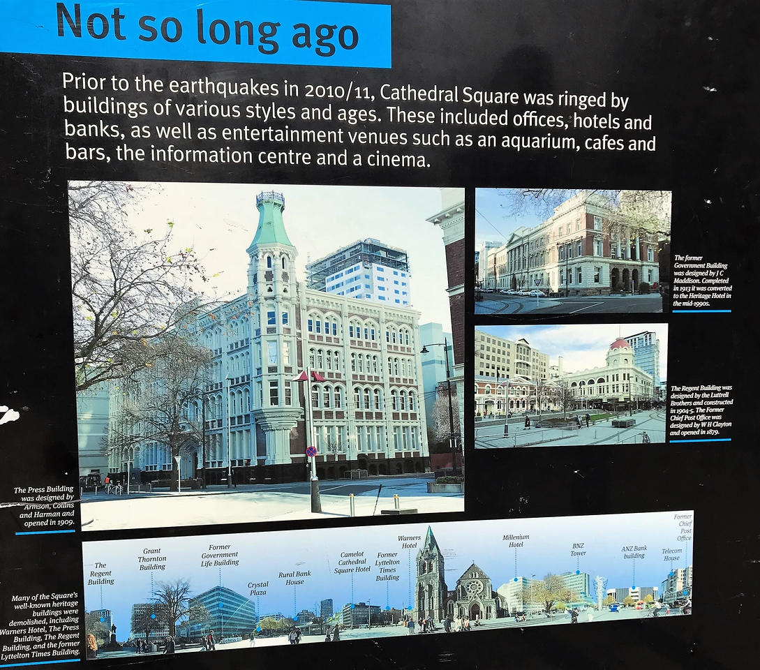 Some photos of buildings which once stood around Cathedral Square.  The now missing spire of the cathedral can be seen in the bottom panorama.
