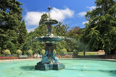 The Peacock Fountain is the largest in the Botanical Garden.