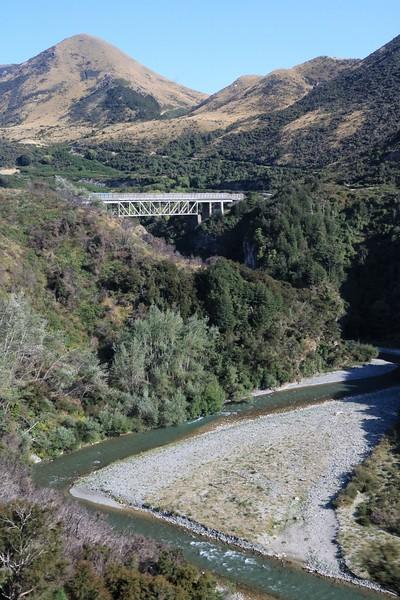 A train bridge over the Waimakariri River.