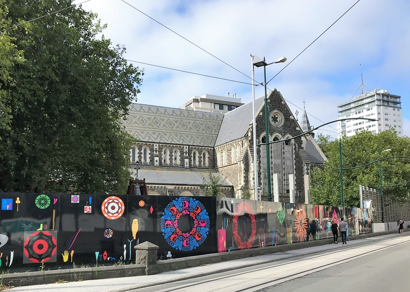 Christchurch Cathedral is fenced in and many of the windows are boarded up.   Six years after the earthquake, no work has taken place yet although recent plans are to restore it rather than replace it.