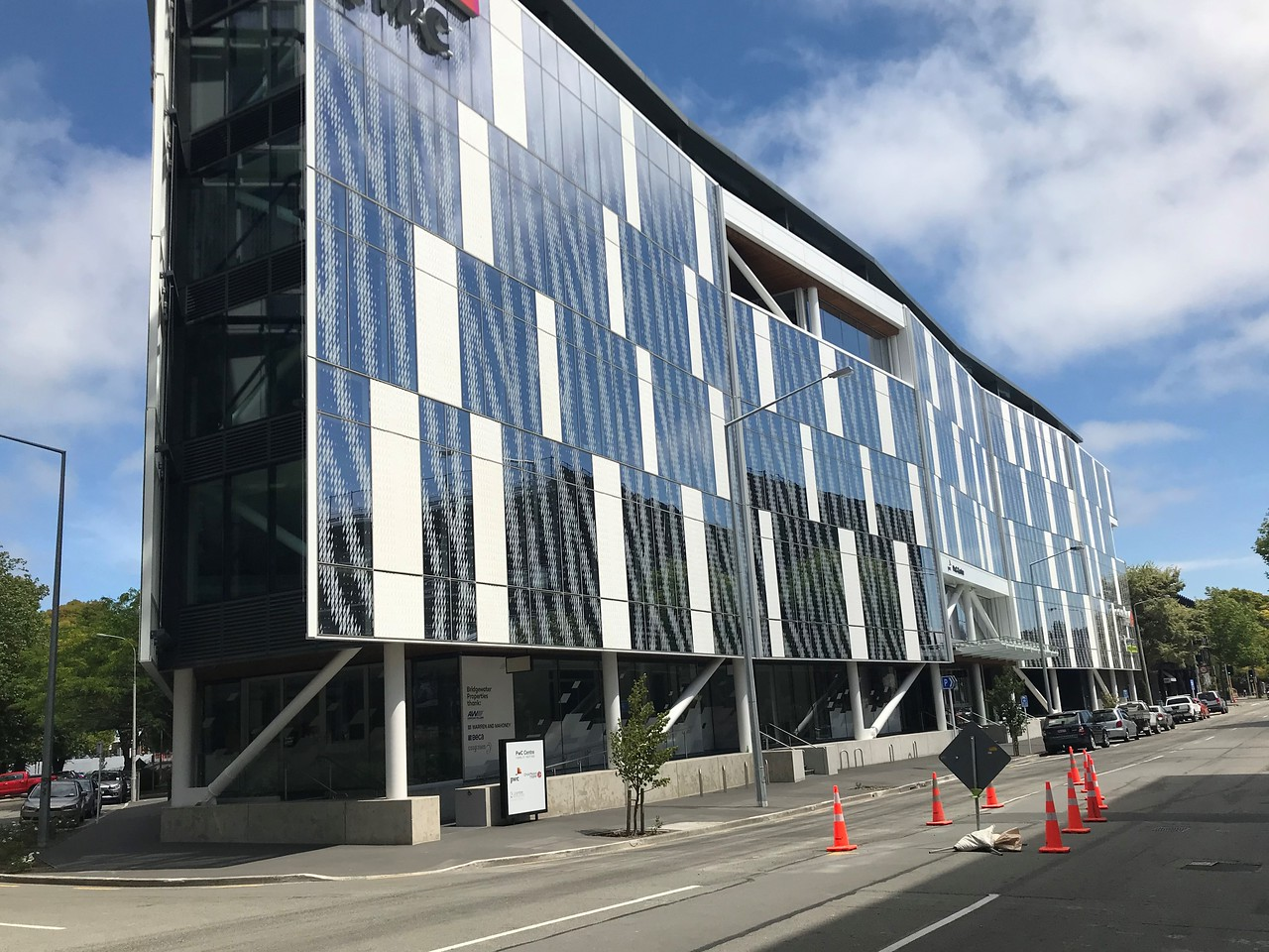 An interesting brand new modern building with a wavy façade.