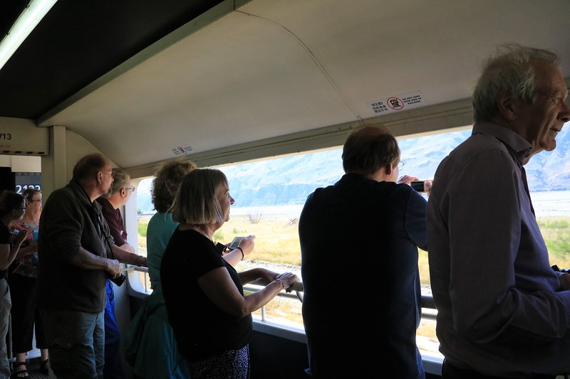 "The observation cars were quite crowded.  People were sometimes 2 or 3 deep at the open ""windows""."
