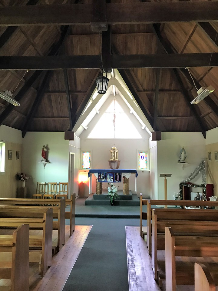 The inside of the little Catholic Church.