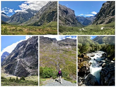 A spectacular day driving to Milford Sound.  Yesterdays hard rain created numerous waterfalls and streams over mountainsides.