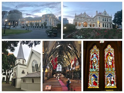 """Wellington.....the capital city of New Zealand.  Top is the parliament building.  The round building to the left, referred to as """"The Beehive"""" is administrative offices, including the Prime Minister and her cabinet's offices.  Top right is the Parliament Library.  Bottom is Old St. Paul's Cathedral, now a museum.  It has beautiful stained glass and is said to look like the inverted inside of an old English sailing ship.  It is made of New Zealand native wood, including Kauri."""