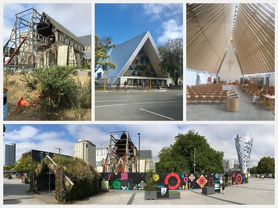 Christchurch is all about rebuilding after the devastating earthquakes in 2010/11. The main cathedral is slowly being restored. The Interim Cathedral's interior is partially made of cardboard.