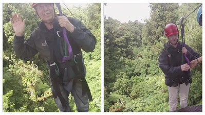 Zip lining! Here we go....not bad for old folks!