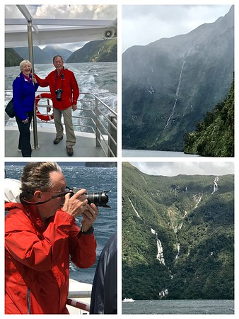 """An extremely windy day on Doubtful Sound. We saw waterfalls that were reported to be over 1000m tall.  That may be an exaggeration, but there is debate over what is a """"waterfall"""" and what is a """"steep-sloped stream""""!"""