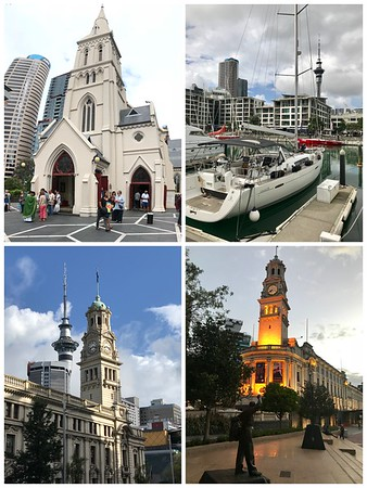 A walk around Auckland...The Cathedral, Harbor, City Hall and the Sky Tower.