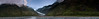 Panorama of the Franz Josef Glacier and the river, Westland National Park, NZ.