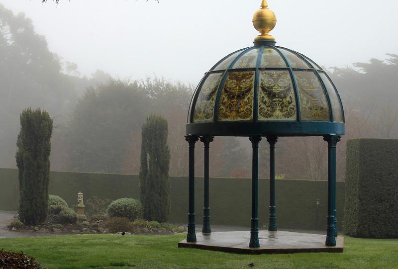 Day 3: Monday, 30 August 2010 - a gazebo on the grounds of Larnach Castle.  The roof appears to be painted glass.