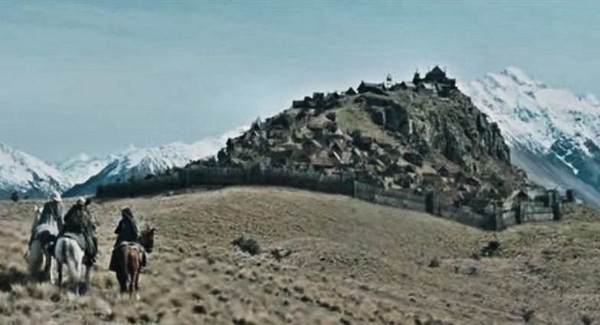A still from The Two Tower of the Rohan city Edoras.