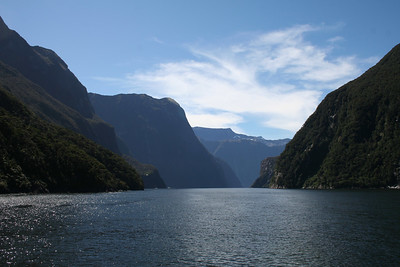 Looking back up Milford Sound.
