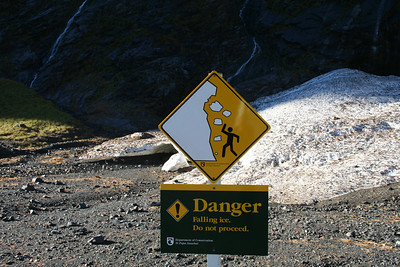 Watch out! Near Homer Tunnel on the road to Milford Sound.
