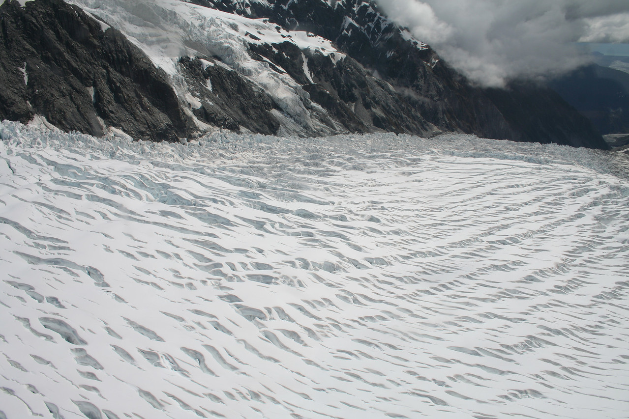 Another shot of the Fox Glacier with a field of crevasses.