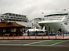 Cruise Ship in Auckland with our hotel, the Hilton, in background