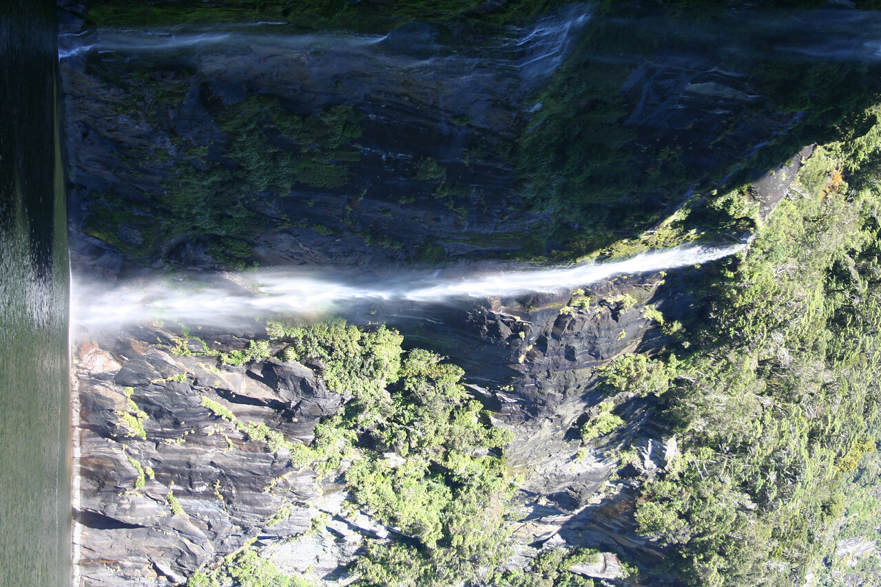 Waterfall in Milford Sound.