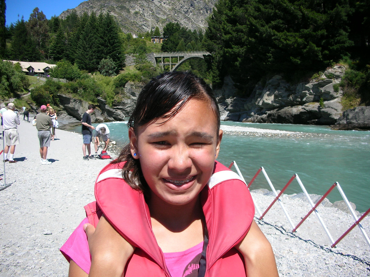 Naomi with her lifejacket for jet boating.
