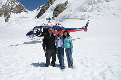 Hans, Ila, and Naomi at the top of Fox Glacier below Mt Cook on the South Island of New Zealand on Jan 2, 2007.