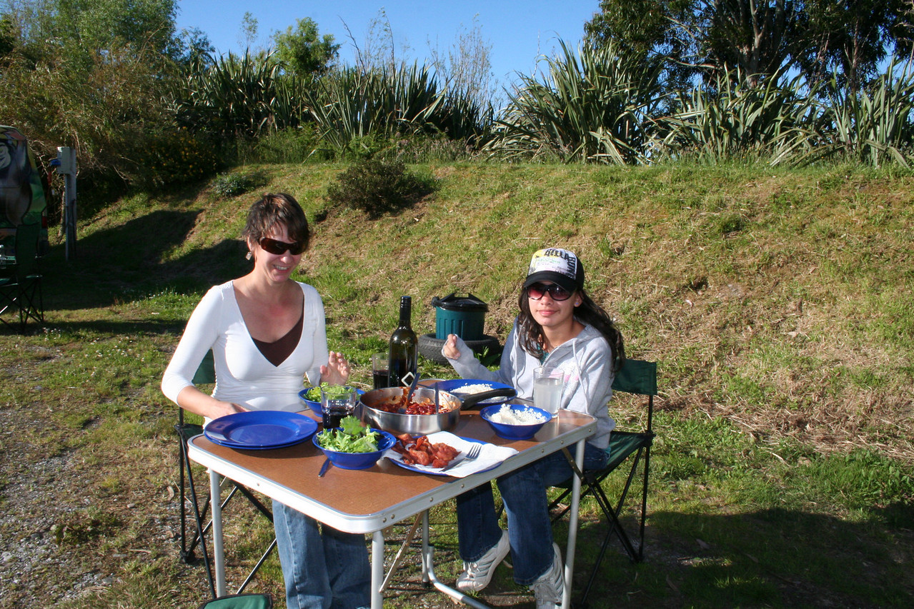 A fine campground dinner with a New Zealand bottle of wine!