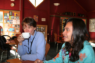 Ila and Naomi having breakfast in Milford Sound.